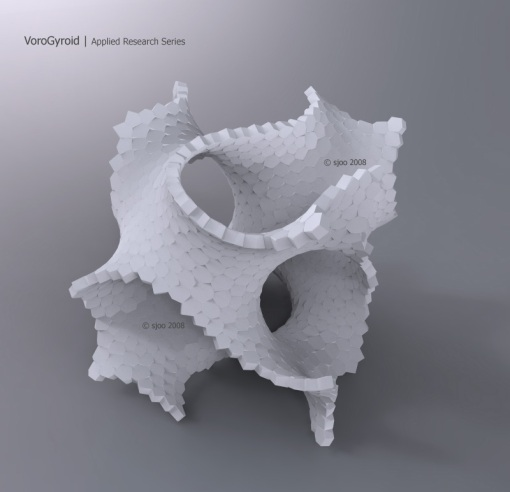 3D Voronoi GyroidShell calculated with Qhull<->Maya PyMEL-GUI