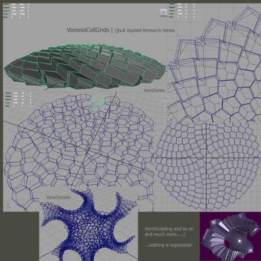 Screenshots from several 3D Voronoi cell grid examples.